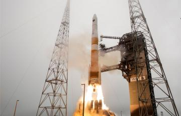 The U.S. Air Force's GPS IIF-9 satellite blasts off from Florida's Cape Canaveral Air Force Station atop a United Launch Alliance Delta 4 Heavy rocket on March 25, 2014.  Photo courtesy: ULA