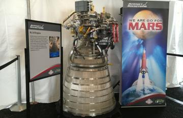 Jan. 27, 2017 - Aerojet Rocketdyne displays the NASA Space Launch System rocket's upper-stage engine, the RL10, at Future Flight in Houston, TX.
