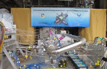 May 12, 2017 - The HBTD kick pump in test configuration at Aerojet Rocketdyne's test facility in Sacramento, California.