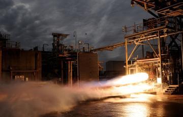 May 15, 2017 - Aerojet Rocketdyne's 30,000 lbf thrust class 3D-printed Bantam engine undergoes testing at the NASA Marshall Space Flight Center T-116 test facility.