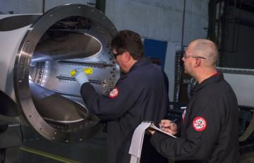 July 9, 2018 - Aerojet Rocketdyne technicians inspect the Jettison Motor for the Lockheed Martin-built Orion spacecraft's Launch Abort System (LAS) at its facility in Sacramento, Calif.