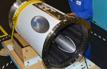 June 21, 2019 - The Orion jettison motor for Artemis 1 is prepped for shipment by an Aerojet Rocketdyne engineering technician at the company's facility in Orange, Virginia