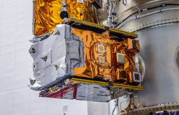 June 25, 2019 - The GPIM spacecraft is shown attached to the inside of the Falcon Heavy rocket prior to the STP-2 launch on June 25, 2019. Image credit: SpaceX