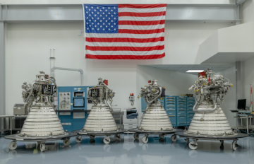 Feb. 03, 2020 - Four AR RL10 rocket engines – shown here at the company's facility in West Palm Beach, Florida – were recently delivered to NASA. The engines will be used to help power the upper stage of the agency's Space Launch System (SLS) rocket.