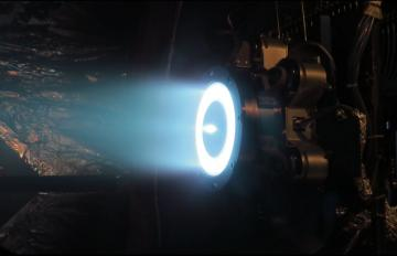 Aerojet Rocketdyne's Advanced Electric Propulsion System development thruster for the AEPS program operated at full power during testing at NASA Glenn, August 2019.