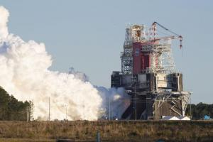 NASA conducts a hot fire test Jan. 16, 2021, of the core stage for the agency's Space Launch System rocket on the B-2 Test Stand at Stennis Space Center near Bay St. Louis. Credit: NASA
