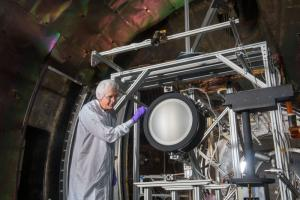The NEXT-C ion engine undergoing testing at NASA's Glenn Research Center.