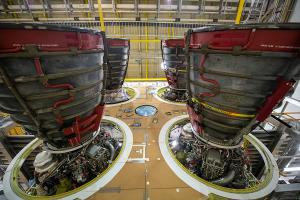 Nov. 6, 2019 - Four RS-25 engines attached to the core Stage for NASA's Space Launch System rocket for NASA's Artemis I mission to the Moon. Image courtesy of NASA.