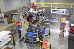 RS-25 engine inspection inside the engine assembly room at Aerojet Rocketdyne's Stennis Space Center Facility (August 2015).